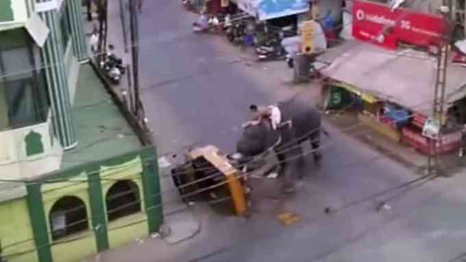 5c9d1e42e340b51b9a4354b977c5a175 - #Video Un elefante enfadado siembra el pánico en la India