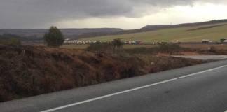 Imagen del accidente en la N232 tomada por uno de los conductores retenidos tras la colisión