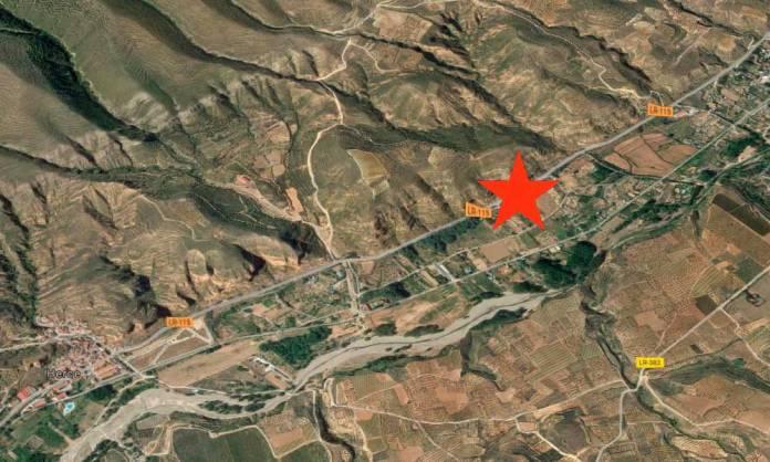 Zona de la carretera LR115 entre Arnedo y Herce donde se ha producido el accidente mortal