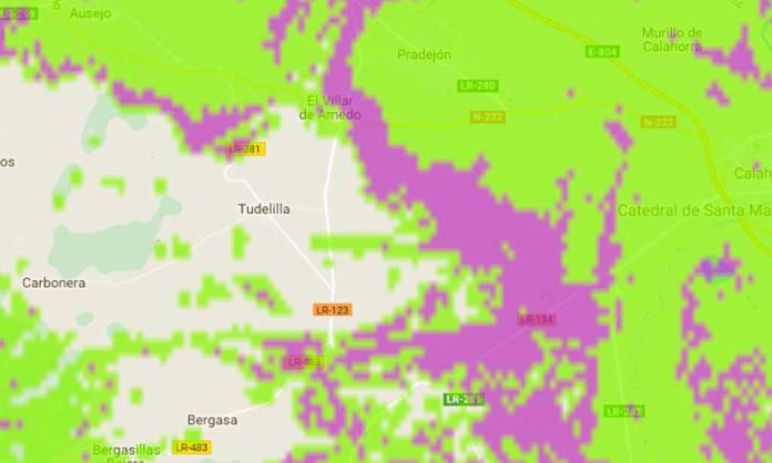 Mapa de cobertura GSM de Movistar