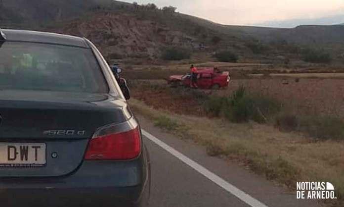 Uno de los vehículos siniestrado en el accidente de la LR-134 en Arnedo