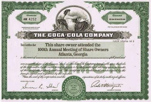Coca-Cola acciones viejas