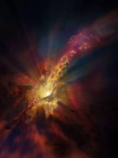 """El parte meteorológico cósmico, como se ilustra en esta concepción artística, pronostica una condensación de nubes de gas molecular frío alrededor del cúmulo de galaxias más brillante, Abell 2597. Las nubes se condensan a partir del gas caliente e ionizado que ocupa el espacio entre las galaxias de este cúmulo. Nuevos datos de ALMA muestran que la """"lluvia"""" de estas nubes se precipita sobre la galaxia, cayendo hacia el agujero negro supermasivo situado en su centro. (Foto: NRAO/AUI/NSF; Dana Berry/SkyWorks; ALMA (ESO/NAOJ/NRAO))"""