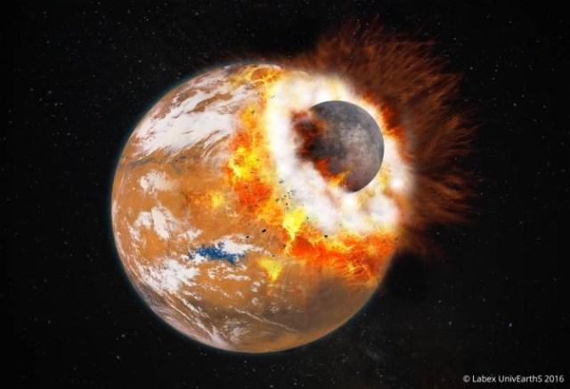 Ilustración de la colisión gigantesca que podría haber conducido a la creación de Fobos y Deimos, así como a la formación de la depresión conocida como Cuenca Borealis. El cuerpo que colisionó habría tenido aproximadamente un tercio del tamaño de Marte. En ese momento, Marte era joven, y quizá tenía una atmósfera más densa y agua líquida en su superficie. (Foto: Universidad de París Diderot / Labex UnivEarthS)