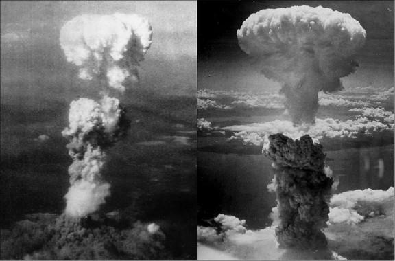 Nubes de hongo sobre Hiroshima (izquierda) y Nagasaki (derecha) tras la explosión de las bombas atómicas 'Little Boy' y 'Fat Man' respectivamente. (Foto: Wikipedia)
