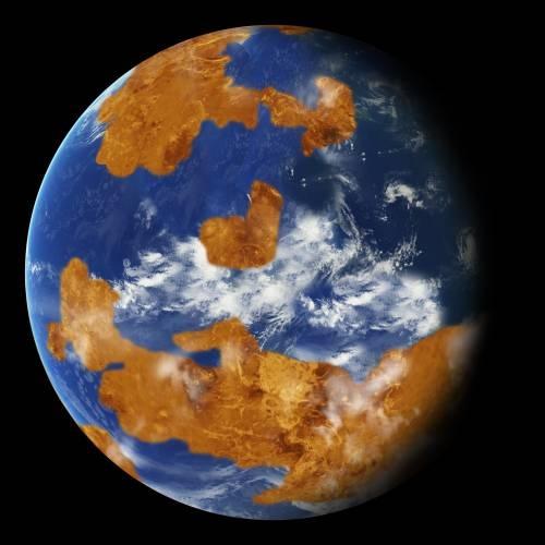 Las observaciones sugieren que Venus quizá tuvo un mar o mares de agua en un pasado remoto. Un patrón de tierra-mar como el de la imagen se utilizó en un modelo climático para mostrar cómo las nubes de tormenta podrían haber escudado al primitivo Venus de la intensa luz solar y hecho habitable al planeta. (Foto: NASA)