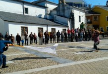 Bandeo de pendones en Piantón