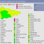 Nueve concejos del Occidente en riesgo extremo por incendios hoy