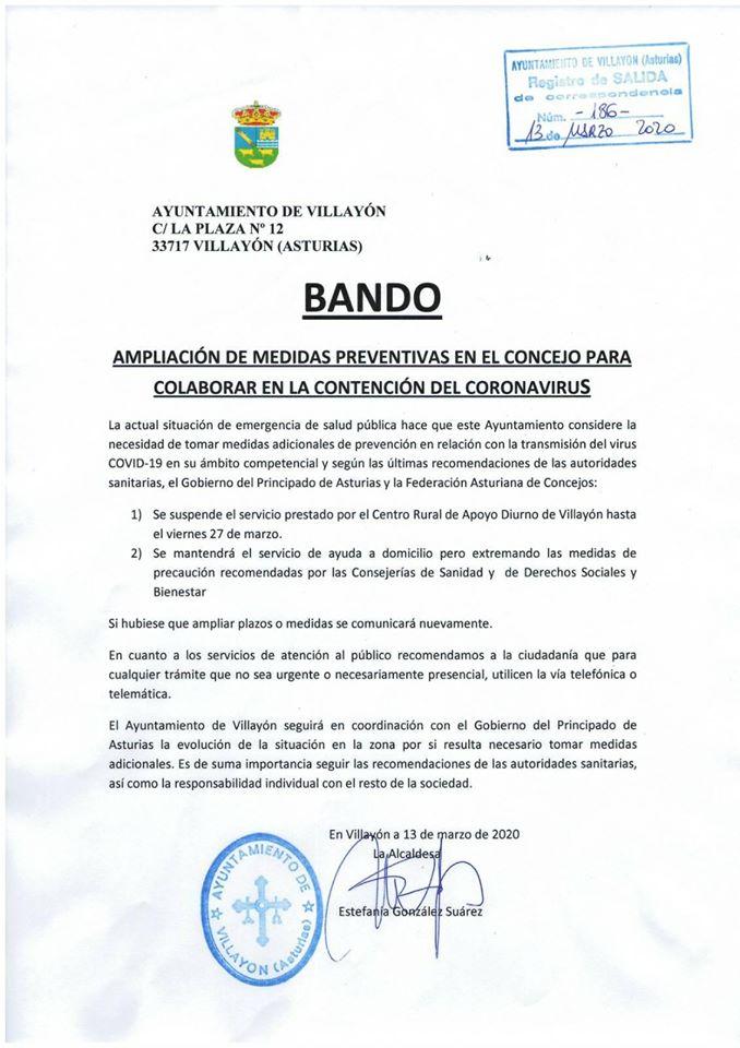 Bando Ayuntamiento Villayón 13/03/2020 3