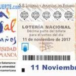 Sorteo lotería nacional Salamanca Noviembre 2017