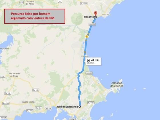 Distância percorrida pelo suspeito é de quase 37 quilômetros
