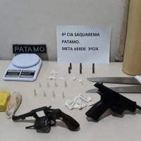 AÇÕES POLICIAIS – Três são detidos com armas, maconha, cocaína e pasta base em Saquarema