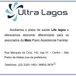 ULTRA LAGOS – Aceitamos Plano de Saúde Life Lagos e oferecemos desconto diferenciado para os associados da MAIS Plano Assistencial Familiar