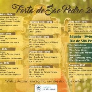 EVENTO – Paróquia de São Pedro divulga programação da Festa do Padroeiro 2019