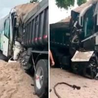 REGIÃO DOS LAGOS – Batida entre ônibus e caminhão deixa um motorista morto e outro gravemente ferido na RJ-106