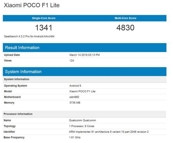 Poco F1 Lite - POCO F1 Lite apanhado no Geekbench com o Snapdragon 660