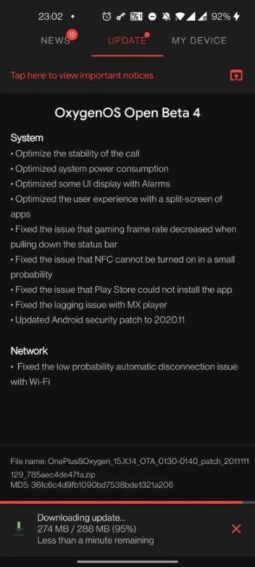 OxygenOS 11 Open Beta 4