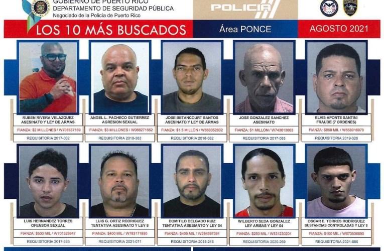Solicitan la ayuda de la ciudadanía para arrestar los 10 más buscados del área de Ponce