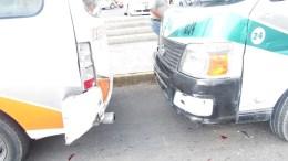 Aparatoso choque de rutas de transporte público, hay siete lesionados