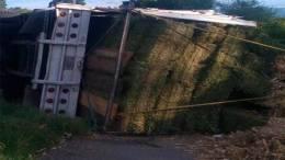 Vuelca camión zacatero, por exceso de velocidad