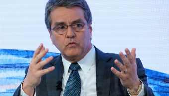 Roberto Azevedo, director general de la OMC, durante un discurso en la reunión anual del Foro Económico Mundial en Davos, Suiza (AP)