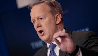 Sean Spicer, portavoz de la Casa Blanca, en conferencia de prensa.