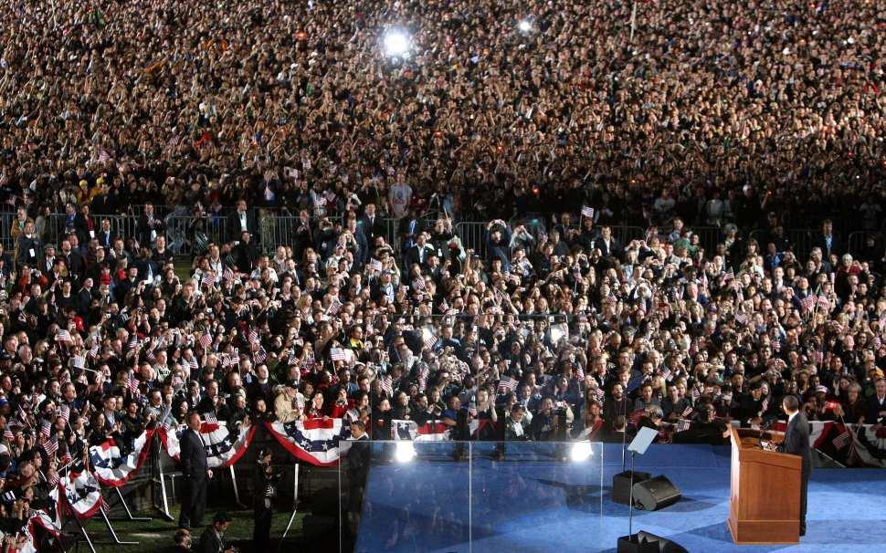 Discurso de victoria de Barack Obama en Grant Park, Chicago, Illinois en noviembre de 2008.
