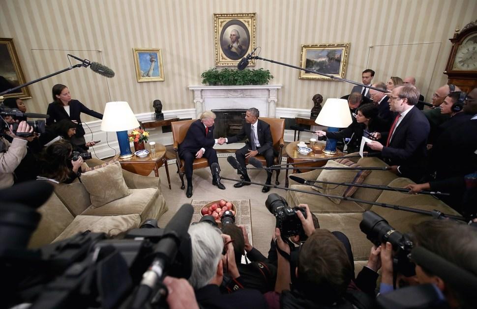 Primera reunión entre Barack Obama y el presidente electo Donald Trump en la Casa Blanca.