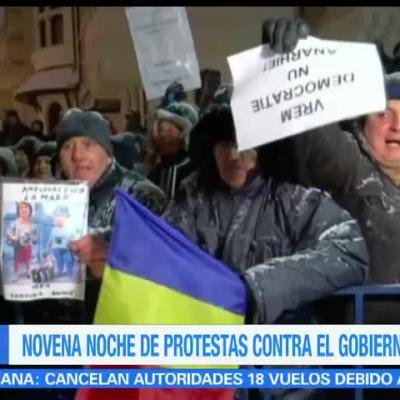 Protestan por novena noche contra gobierno de Rumania