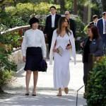 La primera dama de EU, Melania Trump, y la esposa del primer ministro japonés, Akie Abe, arribaron al museo y Jardines Japoneses Morikami. (AP)