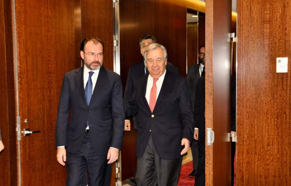 """Ante el secretario general de la ONU, el canciller enfatizó que """"México continuará siendo un firme defensor del multilateralismo, y en particular de las Naciones Unidas"""". (Notimex)"""