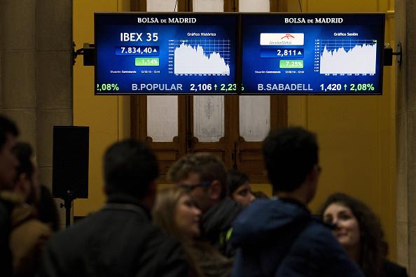 El Ibex 35 de la Bolsa de Madrid subía tímidamente, mientras el resto de las Bolsas europeas operaba a la baja. (Getty Images)