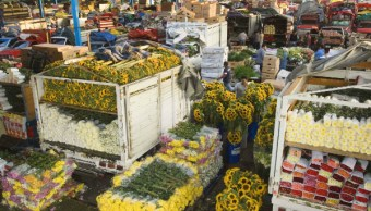 Decenas de comerciantes de flores se reúnen en la Central de Abastos de la Ciudad de México; inician una venta nocturna con motivo del Día de San Valentín