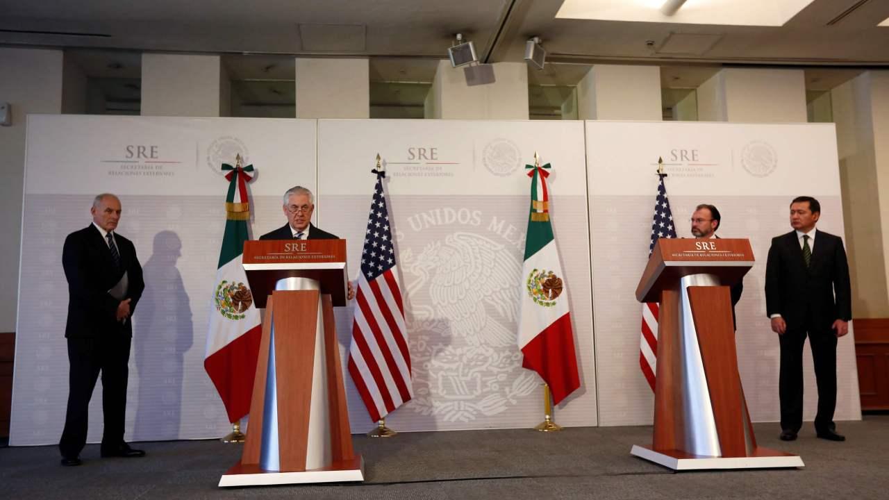 Aspectos del mensaje que ofrecieron Luis Videgaray, Miguel Ángel Osorio Chong, Rex Tillerson y John Kelly. (Reuters)