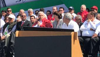 Carlos Aceves del Olmo, secretario general CTM durante evento del Centenario de la Promulgación de la Constitución de México (Twitter/@CTM_MX)