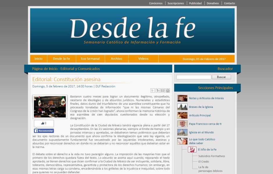 """Semanario Desde la fe califica como """"asesina"""" a la Constitución de la CDMX"""