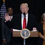 El presidente de Estados Unidos, Donald Trump, durante una conferencia de prensa.