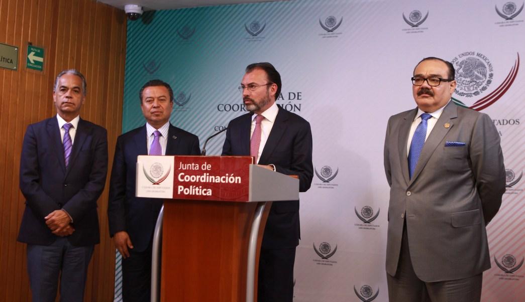 El canciller mexicano se reunió en privado, por más de tres horas, con la Junta de Coordinación Política de la Cámara de Diputados. (SRE)