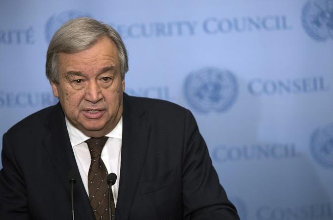 El secretario general de la Organización de las Naciones Unidas (ONU), Antonio Guterres, se dirige a periodistas durante una conferencia de prensa (AP)