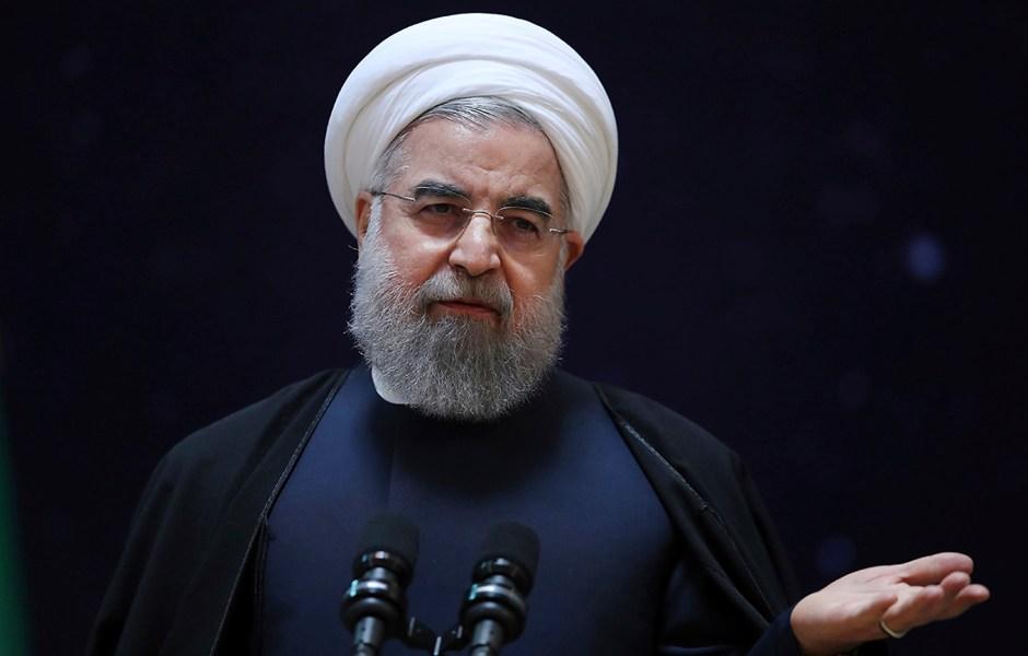 Hassan Rouhani, presidente de Irán, durante una conferencia de prensa.