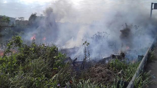 Una fuerte columna de humo se observó desde la autopista Veracruz-Cardel.