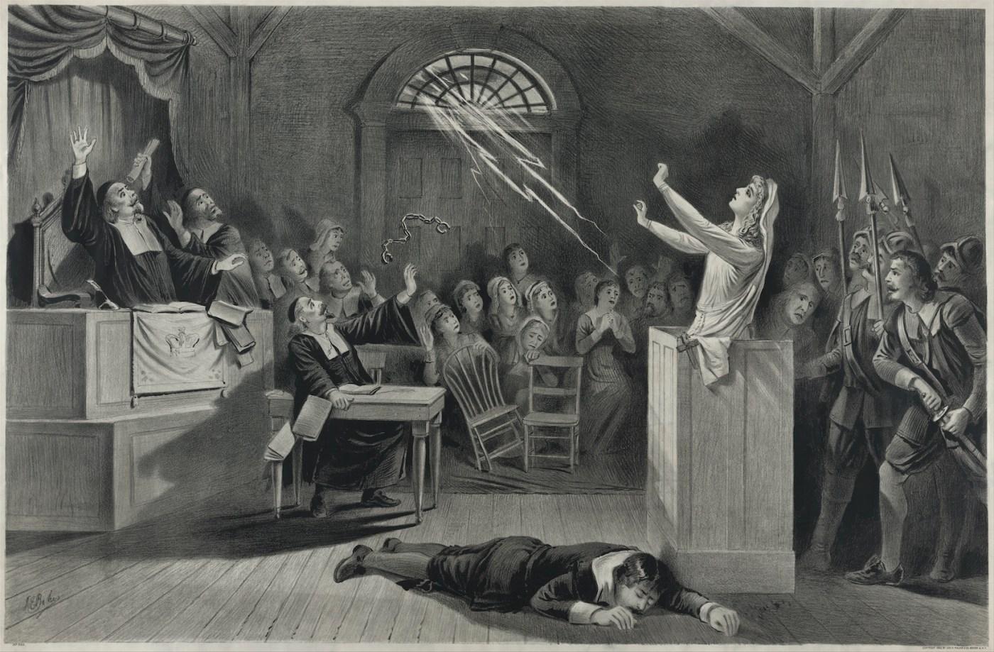 Representación de los juicios de Salem, lithografía de 1892