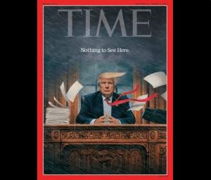 La revista Time muestra en su portada a Donald Trump en medio de una tormenta. (Time)