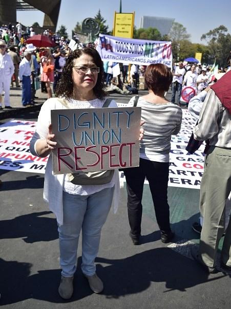 Movilización contra Donald Trump en la Ciudad de México, en Paseo de la Reforma (Noticieros Televisa)