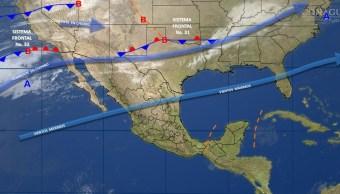 Mapa con el pronóstico del clima para este 27 de febrero; pronostican vientos fuertes el norte y noroeste de México. (SMN)