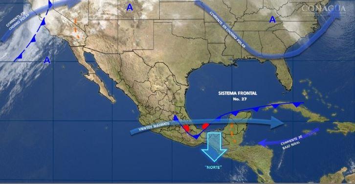 Mapa con el pronóstico del clima para este 10 de febrero; se mantiene el ambiente fresco en el noreste y oriente de México. (SMN)