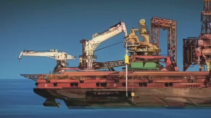 Maquinaria utilizada para dragar el fondo marino (Noticieros Televisa)