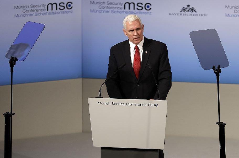 Mike Pence en la Conferencia de Seguridad de Múnich, Alemania. (AP)