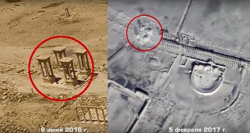 Imágenes de drones lanzado por el Ministerio de Defensa ruso muestran los restos de un anfiteatro romano de Palmira, en Siria (AP)