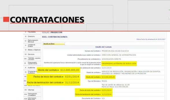 Imagen de un contrato otorgado por la Prodecon a la UANL (Noticieros Televisa)